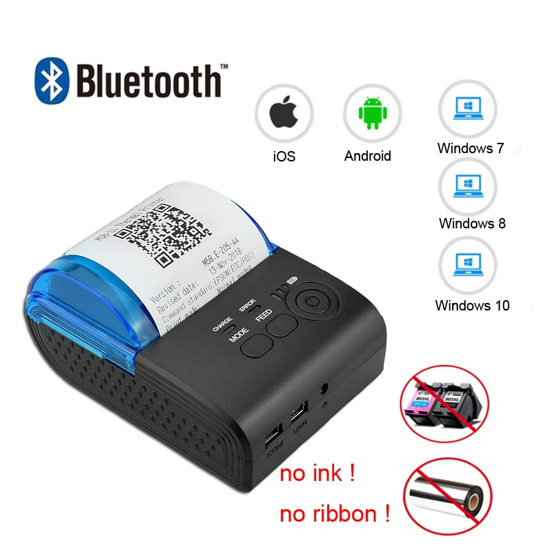 58mm bluetooth impressora térmica mini pos impressora de recibos bill máquina handheld portátil loja impressora para ios android zijiang 5805