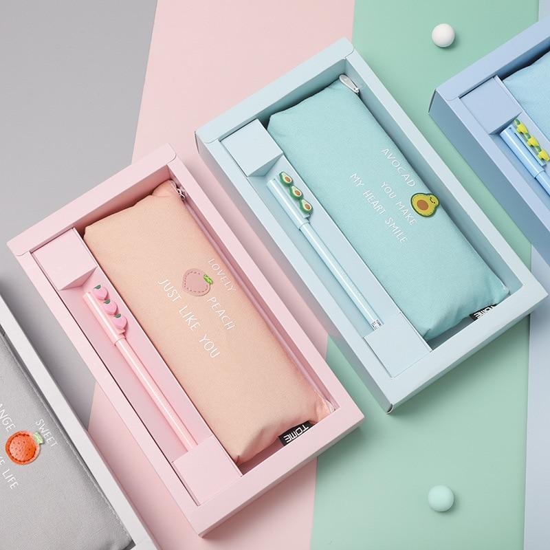 Tumi conjunto criativo caixa de presente caso lápis estudante caso menina bonito pequeno fresco papelaria saco masculino material escolar