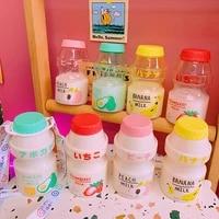 480ml plastic cute yogurt water bottle tour drinking bottle yakult shape kawaii milk carton shaker bottle for kidsadult 1pcs