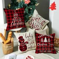 lism cushion cover 45x45cm christmas 2022 elk santa pillowcase printed linen waist pillow cushion home decoration pillow cover