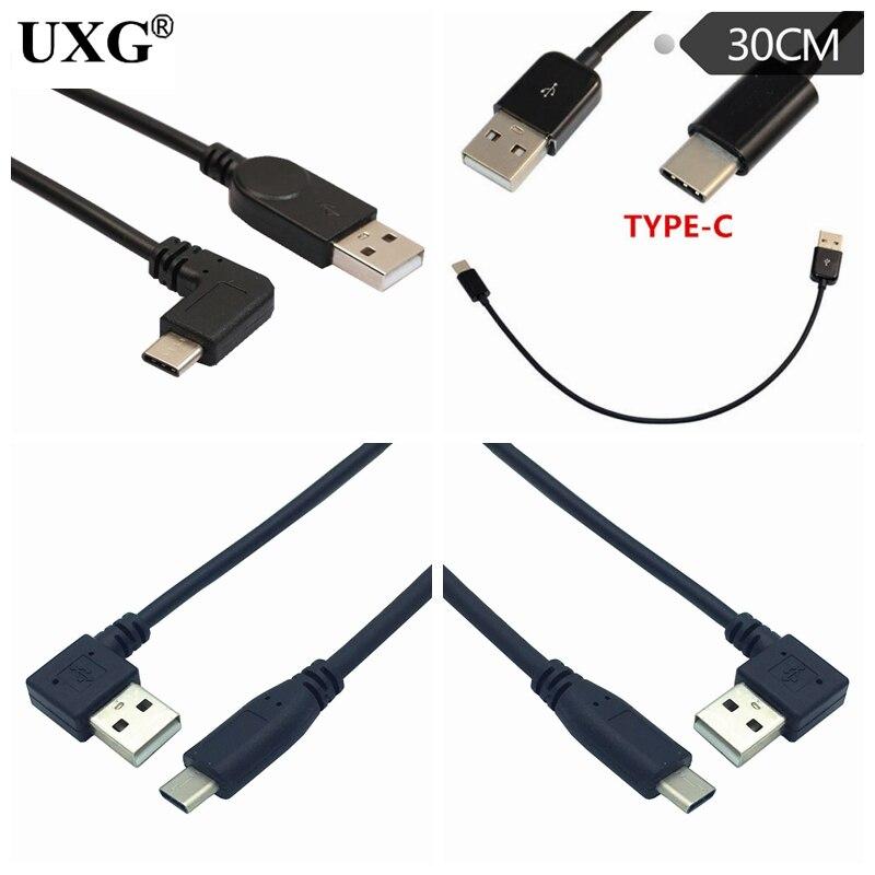 25 см USB-Type C короткий 2.4A кабель для быстрой зарядки локоть 90 градусов прямоугольный USB C 3,1 USB кабель для передачи данных для всех смартфонов
