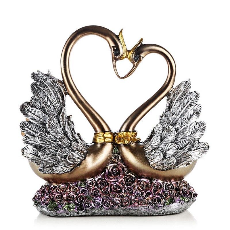 [MGT] par de cisnes de resina minimalista moderno escultura artesanal decoración creativa del hogar Decoración Para La habitación regalo de amor de boda