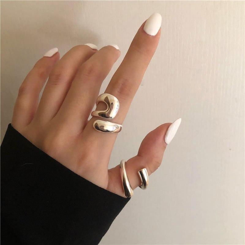 Нерегулярные Открытое кольцо 925 Серебряные кольца для женщин модный геометрический изысканные ювелирные изделия вечерние аксессуары пода...