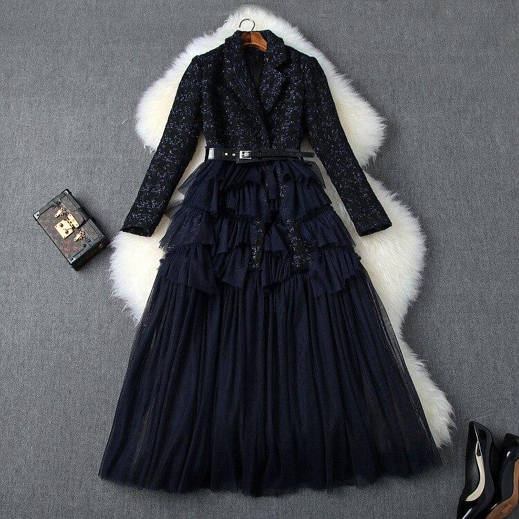 ملابس نسائية أوروبية وأمريكية فستان جديد لخريف 2022 بأكمام طويلة من التويد مع خياطة غير منتظمة من القماش الشبكي بحزام