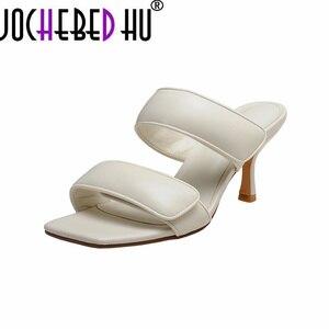 【JOCHEBED HU】Summer модельер квадратный мыс босоножки с каблуком «рюмочка»; Мягкие кожаные удобные модельные; Шлепанцы; Женская пляжная обувь; Сезон лето
