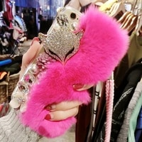 fox fur diamond phone case for iphone 11 12 pro xs max xr 7 8 6 6s plus 5 5s se 2020 luxury rhinestone bling crystal bags cover