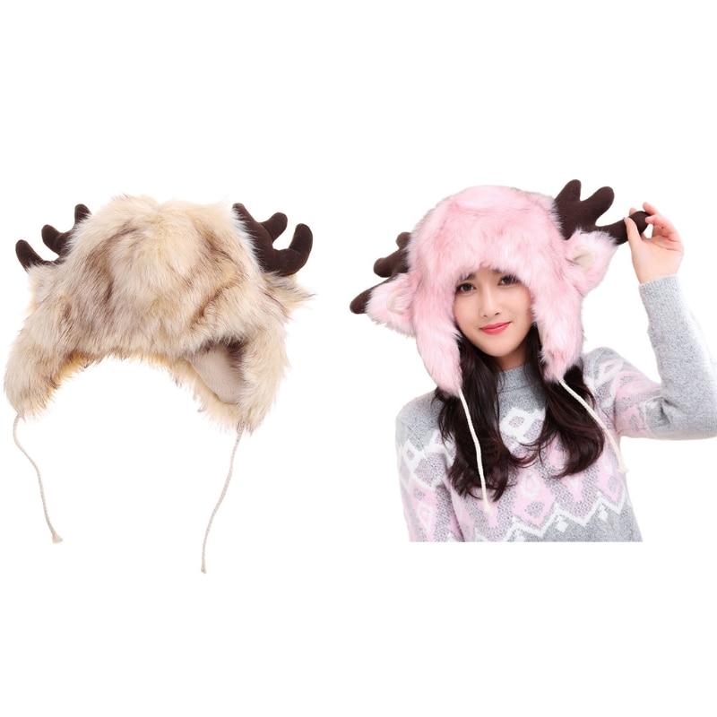 Unisex Winter Cosplay Furry Trapper Hat Cute Deer Ears Antlers Fluffy Plush Animal Earflap Thermal W