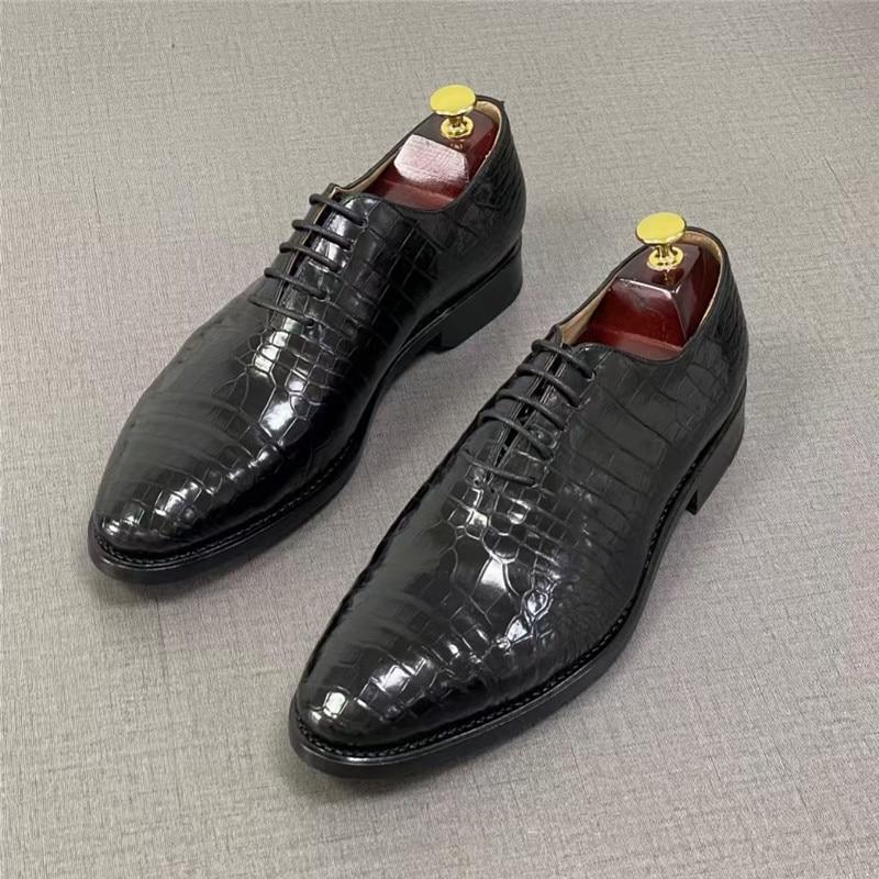 حذاء أكسفورد أنيق برباط من جلد التمساح الأصلي للرجال ، حذاء أنيق من جلد التمساح الأصلي لرجال الأعمال