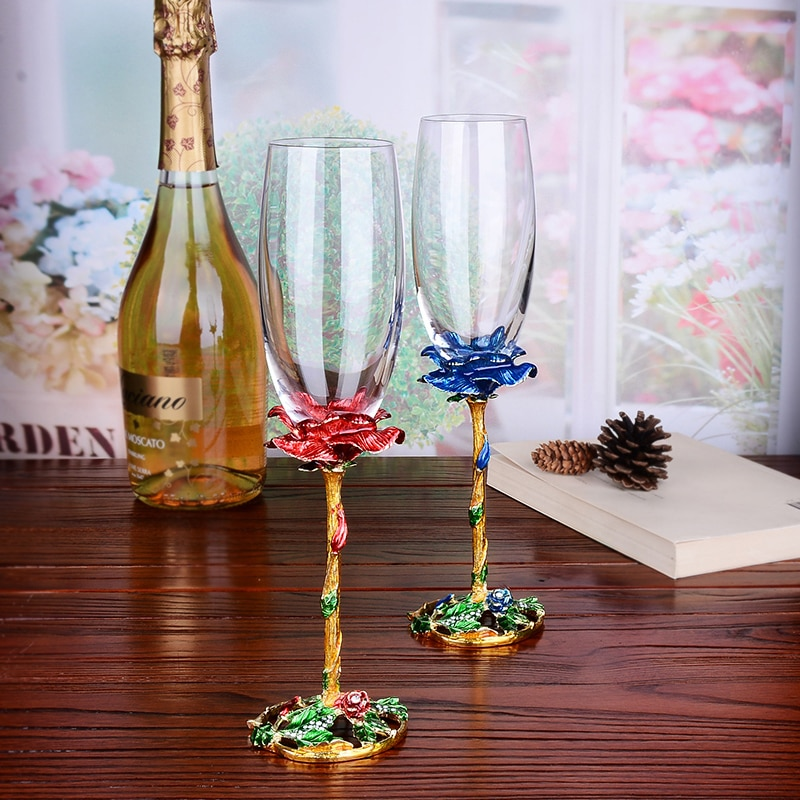 European Style High Quality Crystal Wine Glass Enamel Rose Goblet Champagne Set Wedding Gifts Party Drinkware