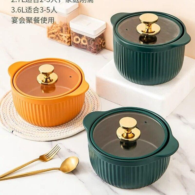 Olla de sopa de lujo olla cazuela de cerámica cacerola sopa alta temperatura de la olla de cocina resistente para estufa de Gas