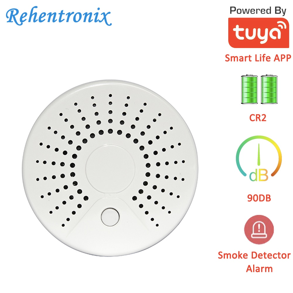 Temperature Alarm Smart Wireless WiFi Tuya Smoke Sensor Detector with 90DB Sound Alarm APP Notifications lta 505j ac220v 2 layers signal tower light with sound 90db