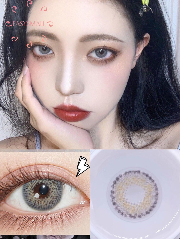 Lentes de contacto Easysmall rusas girl gris, lentes de contacto desechables anuales para ojos, aspecto Natural, opción de grado 2 unids/par