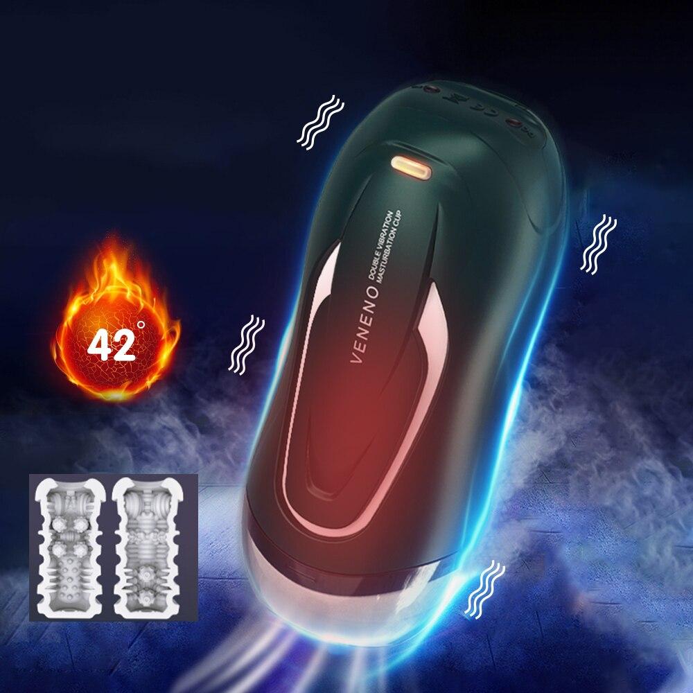 10 تردد ذكر مزدوج موتور التدفئة جهاز استمناء ثلاثية الأبعاد سيليكون المهبل دمية بفرج حقيقي صوت الاستمناء الكبار الجنس لعب للرجال