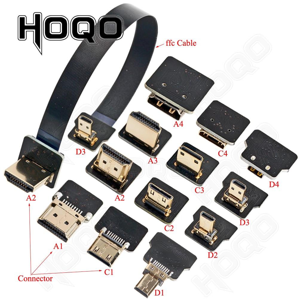 Ribbon Flat FPV HDMI-compatible Cable Micro HDMI to Mini HDMI 90 Degree Adapter 5cm-80cm FPC Pitch 20pin Plug Connector