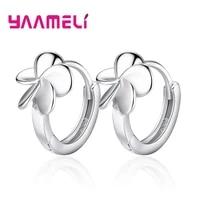 simple flower charm hoop earring 925 sterling silver for woman girl nice hot sale design brincos pendientes jewelry
