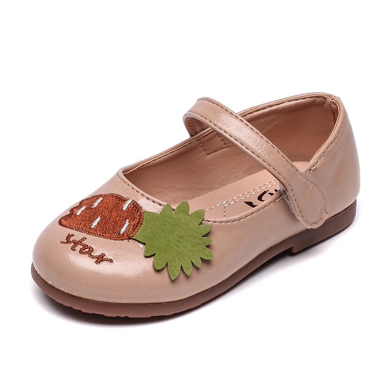 Girls Shoes 2021 Spring Autumn Kids Flats With Cute Fruit Pineapple Kawaii Toddlers Little Children's Leather Shoes 21-30 Soft