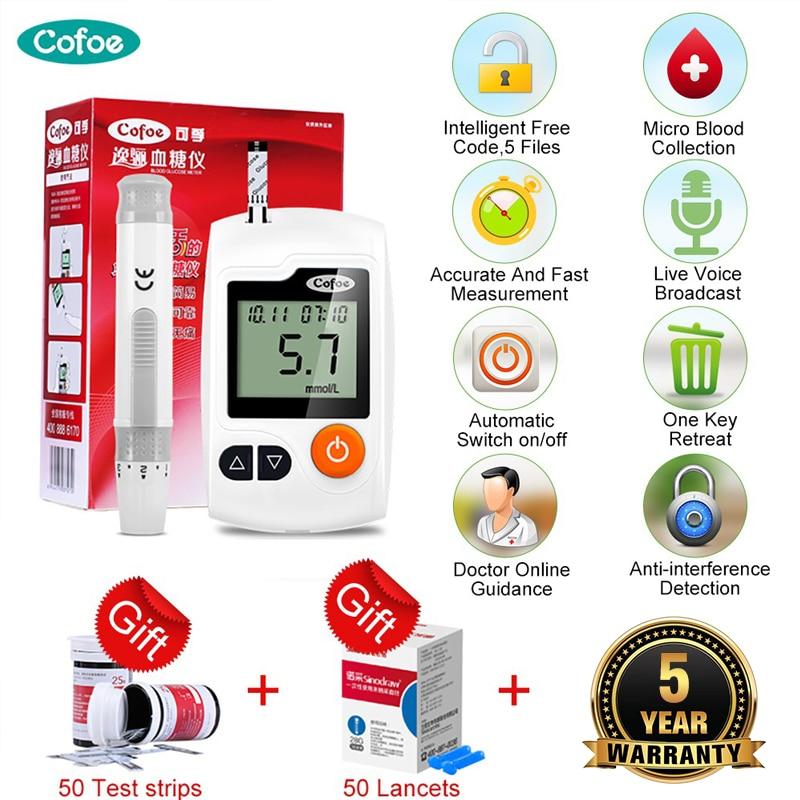 Глюкометр Cofoe Yili, медицинский глюкометр, измеритель уровня сахара в крови, тестер на диабет с 50/100 тестовыми полосками и иглами