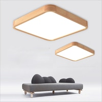 Solid wood LED ceiling light modern light board living room square lamp bedroom kitchen hall surface installation