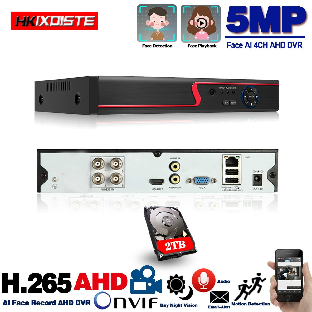5MP 6in1 HD TVI السيدا العهد IP الأمن DVR 4ch مسجل H.265 الرقمية فيديو مسجل مع الذكية كشف الحركة تشغيل ل CCTV
