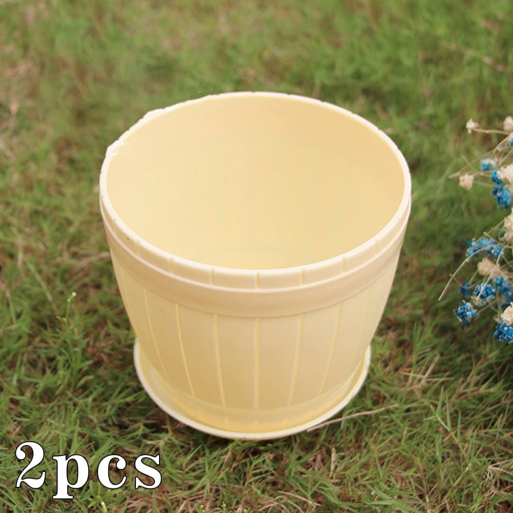 2 uds macetas de plantas para interior y exterior maceta de resina PP cubierta de flores maceta decorativa moderna redonda