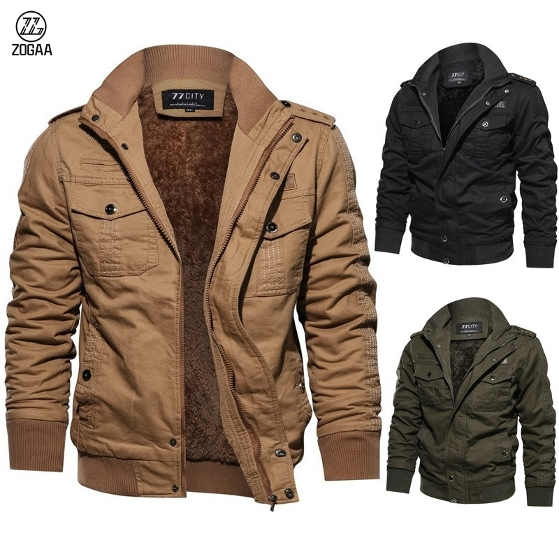 Новинка, зимняя модная теплая уличная куртка-бомбер ZOGAA с меховой подкладкой, пилот в стиле милитари, пальто, армейские куртки