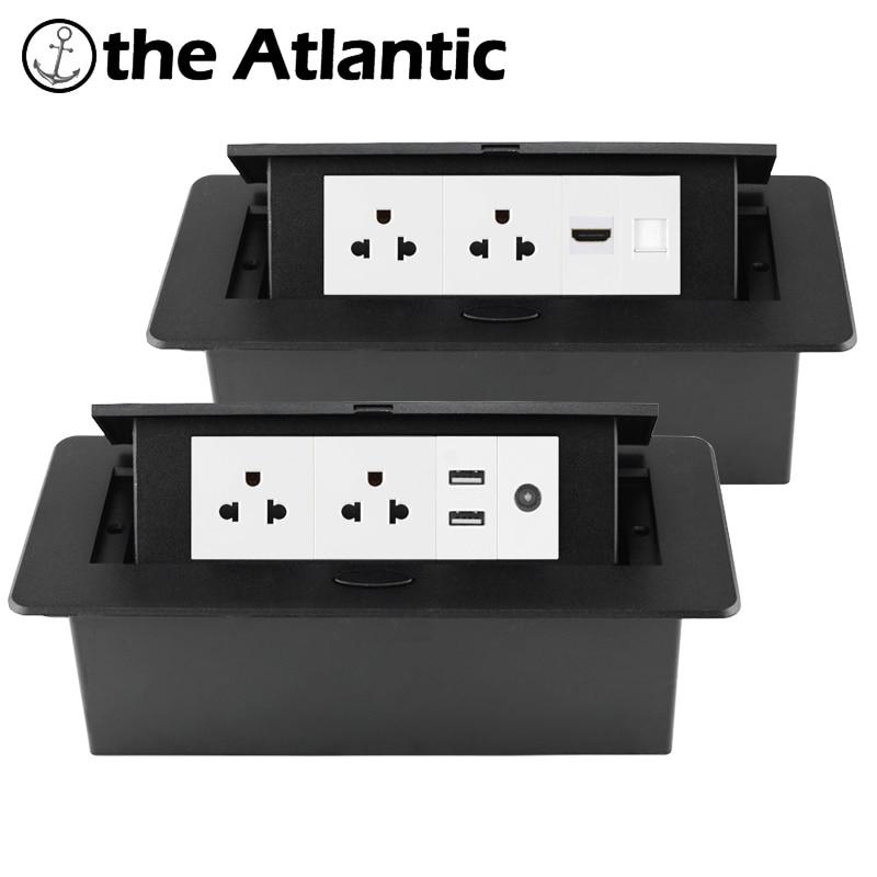 مقبس سطح المكتب الأمريكي راحة قطاع الطاقة USB RJ45 TV HDMI سطح المكتب المنبثقة الجدول المخرج المدمج في المقبس الولايات المتحدة الأمريكية المكسيك ك...