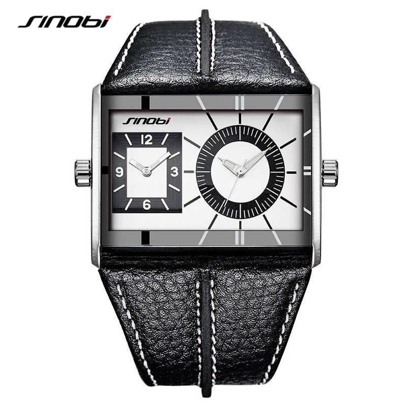 SINOBI-ساعات كوارتز جلدية للرجال ، تصميم فريد ، عدة مناطق زمنية ، أزياء