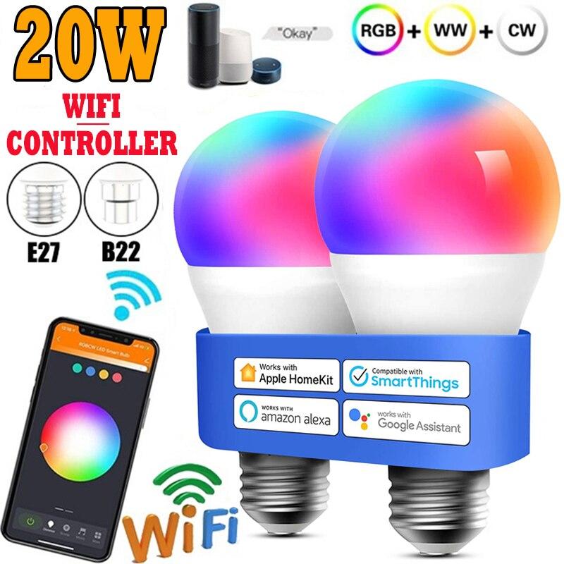 Умные приглушаемые светодиодные лампочки, волшебная RGB лампа AC85-265V Wi-Fi или ИК-пультом дистанционного управления, совместимая с приложением ...