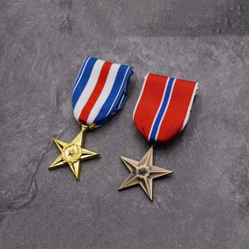 Nos ejército medalla de bronce de plata estrella de cinco puntas honores cinta militar conmemorar Pin con distintivo