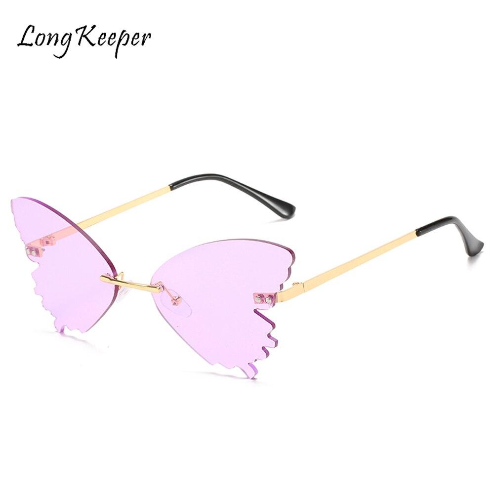 Mariposa Vintage gafas de sol de las mujeres de la marca de lujo de diseño sin montura gafas de sol tipo Ojo de Gato de onda gafas Streetwear gafas color púrpura