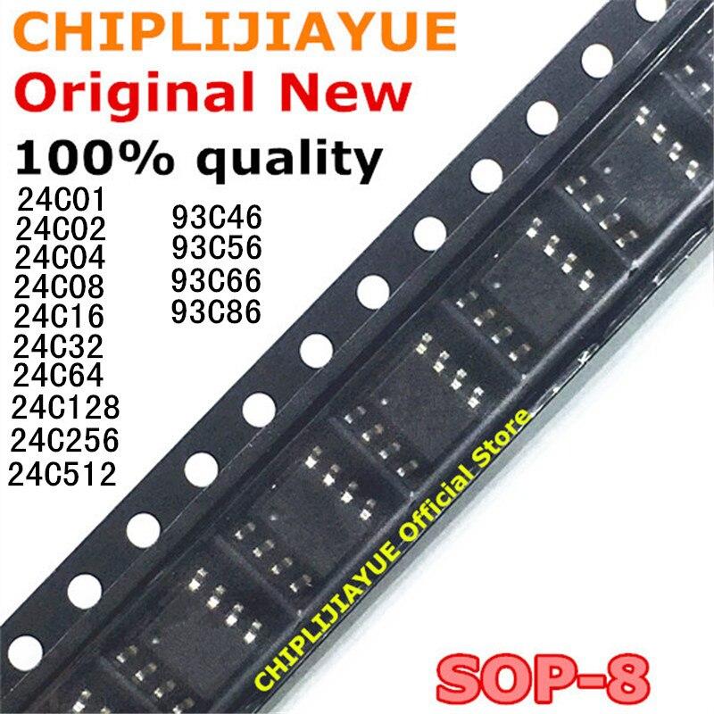 10 Uds 24C01 24C02 24C04 24C08 24C16 24C32 24C64 24C128 24C256 24C512 93C46 93C56 93C66 93C86 SOP-8 nuevo y original IC Chipset