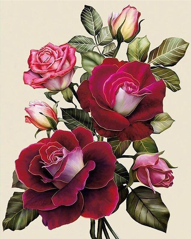 Requintado rosa flor bordado conjuntos ponto cruz 14ct sem impressão kit arte cruz-costura, diy artesanal decoração de casa