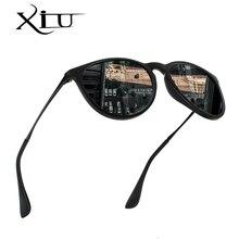 XIU Retro Classic Vintage Round Polarized Sunglasses Men Brand Designer Sun Glasses Women Metal Frame Black lens Eyewear Driving