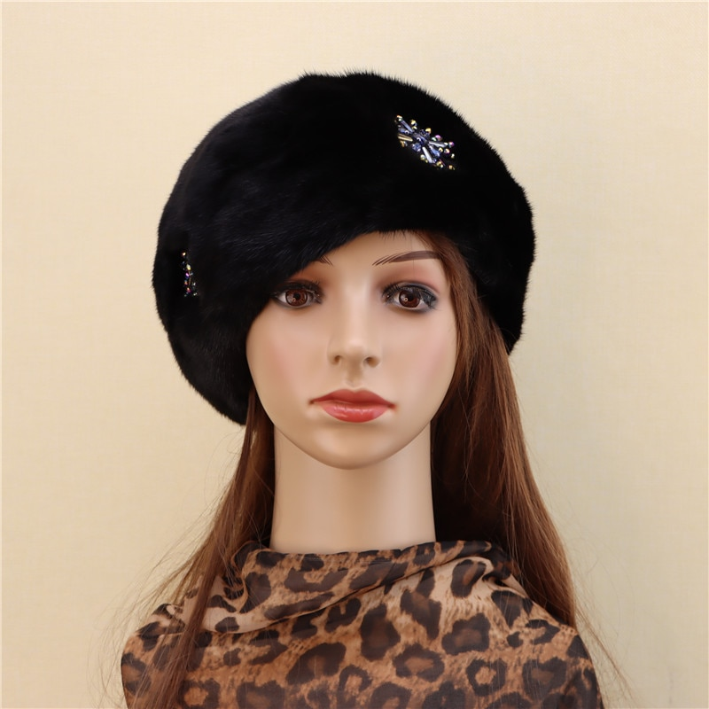 2020 new product whole mink mink beret female winter warm mink velvet fur fashion adult new leather hat