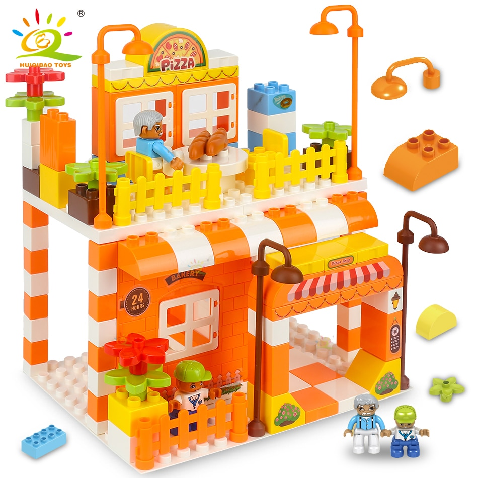 HUIQIBAO 122pcs Pizza Store Big Building Blocks Set Duploed Size City Street View Shop Bricks Educational Toys For Children Gift 280 pcs mini city street view building blocks coffee shop hamburger store city diy bricks toys for children christmas gifts