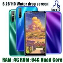 4G RAM Android téléphones intelligents 10X Pro 64G ROM Quad Core13MP HD visage ID 6.26 pouces goutte deau écran débloqué téléphone portable celulares