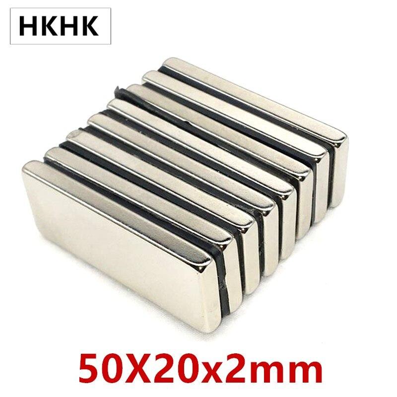 10 шт./лот прямоугольный магнит 50x20x2 неодимовый магнит 50*20*2 NdFeB магнит 50x20x2 trong квадратный NdFeB редкоземельный магнит 2 мм