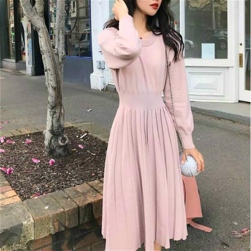 Vintage French Style Dress Women Elegant Slim Lantern Sleeve Draped Knitted Dress Female One Piece Dress Korean New Autumn 2020
