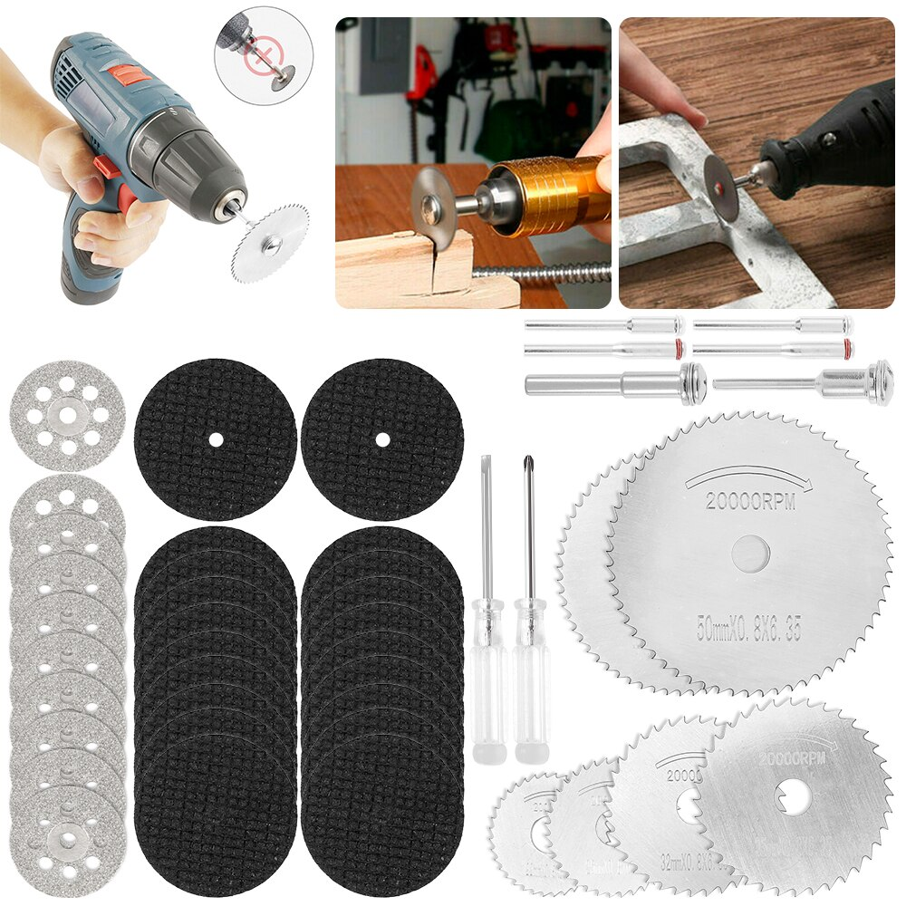 44Pcs High Efficiency Resin Cutting Disc HSS Circular Saw Blades Diamond Cutting Wheel Power Tool  DIY Woodworking Accessories