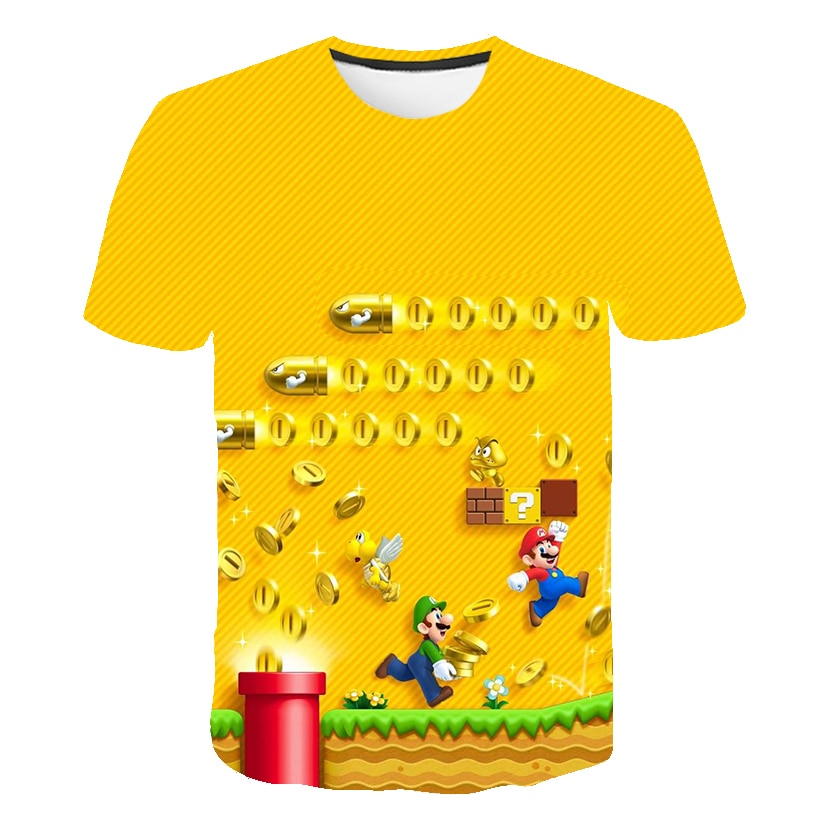 Children Games Super Mario-Bros T Shirt Baby Boys Girls Clothes Children Clothing Boys Tshirts Kid Girl Tops Tee Peach Luigi
