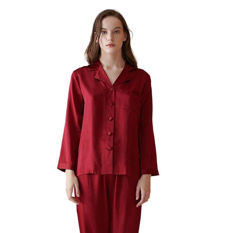 New 100% Mulberry Silk Pajamas Set Women Suit Female Ningtwear Lady Sex Fashion Homewear Bed 19mm Heavy Home Service
