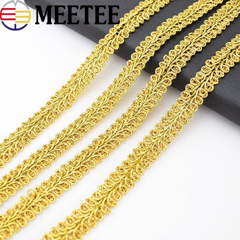 20 metros Meetee, adornos de encaje dorados, cintas de cinta, lentejuelas, tela de recorte, accesorios de costura para ropa, manualidades DIY
