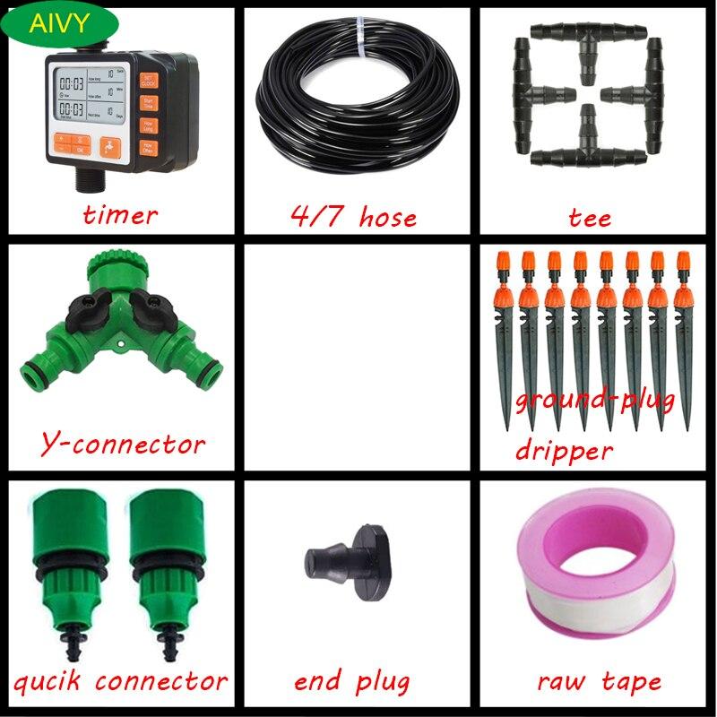 Kits de Irrigação por Gotejamento Automática com Temporizador de Tela Verdes para Plantar Micro Sistema Rega Lcd Jardinagem Ferramentas Flores 50m 4 – 7