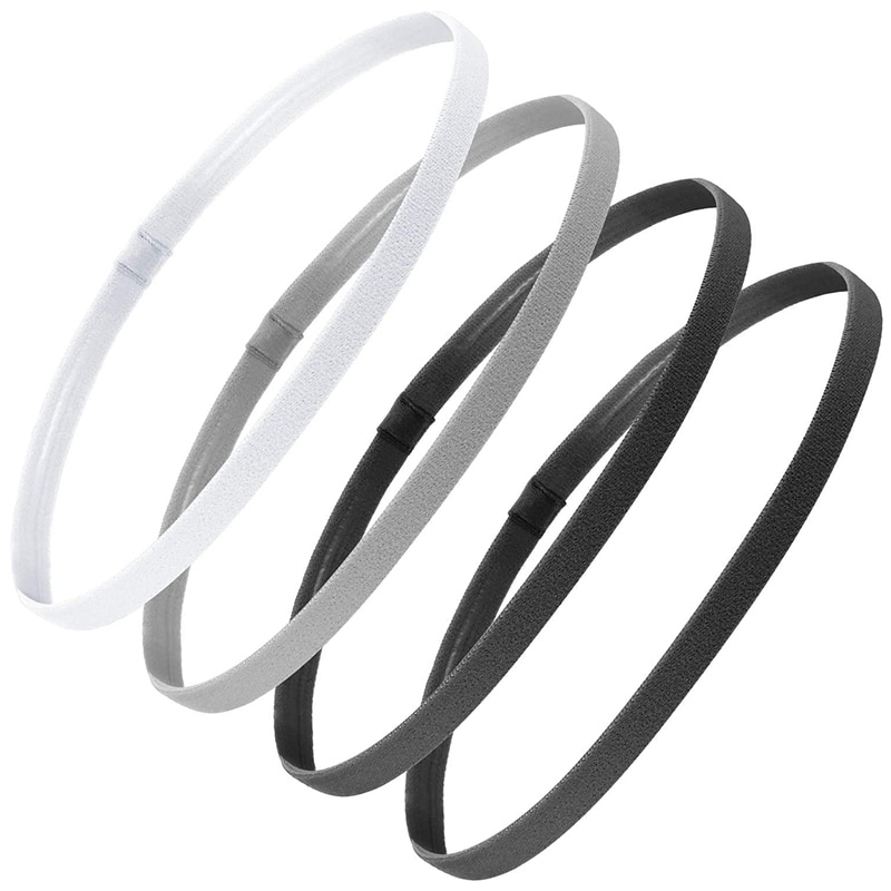 4 Pieces Thick Non-Slip Elastic Sport Headbands Hair Headbands,Exercise Hair and Sweatbands for Women and Men