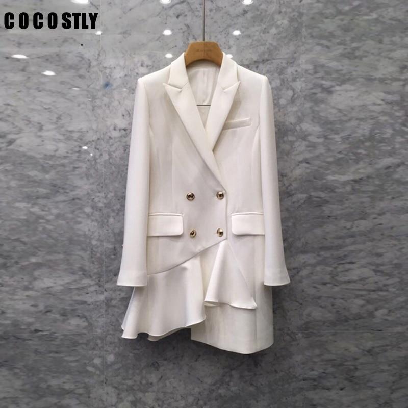 Blazer de otoño para mujer de manga larga de doble breasted blanco blazer asimétrico volantes traje chaqueta femenina