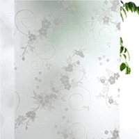 Doux 45x100cm givre couverture verre fenetre prune fleur florale autocollant Film maison