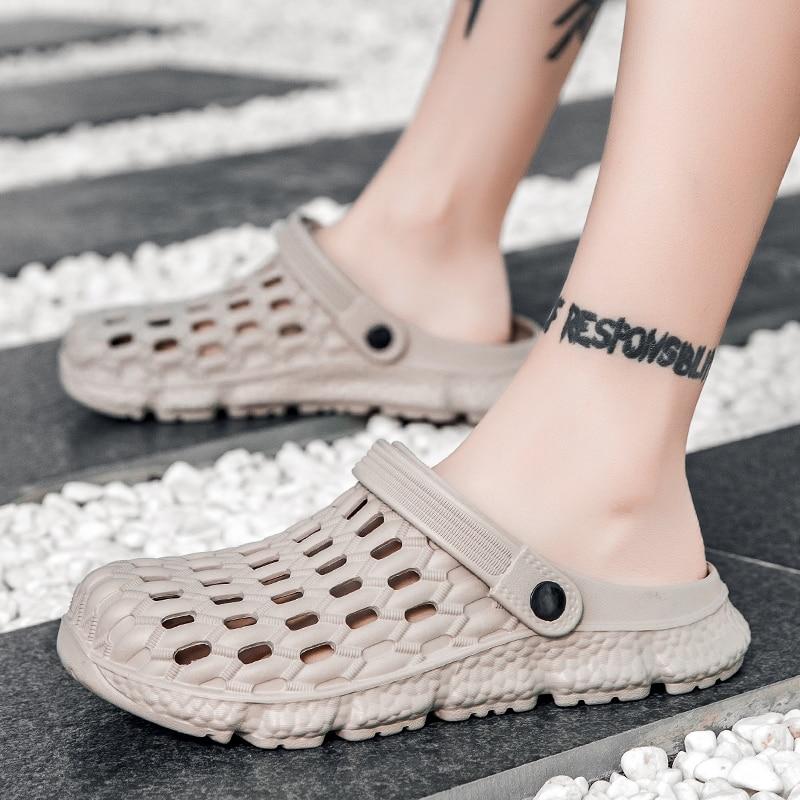 Summer Outdoor Rubber Beach Sandals Men Clogs Garden Shoes Male Zuecos Hombre Sandal Slip-On Sandalias Playa Soft Comfortable