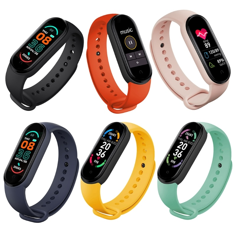 M6 Smart Watches for Men and Women Smart Band Watches Heart Rate Blood Pressure Sleep Monitor Pedometer