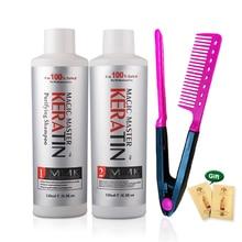 120ml MMK traitement de la kératine huile de noix de coco crème défrisante sans formol ensemble de traitement des cheveux + peigne rouge gratuit