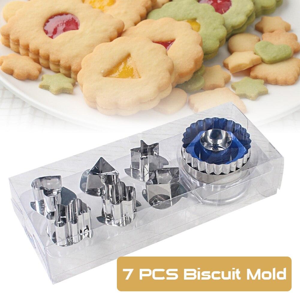 7 шт набор резаков для печенья 6 моделей Нержавеющаясталь пресс-формы для выпечки с 1 Пресс для печенья
